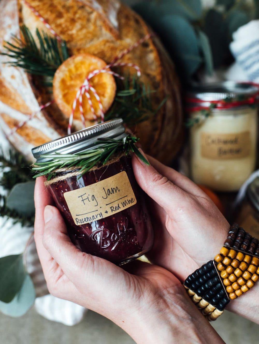 holding jar of fig jam