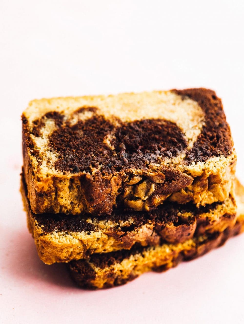slices of marble pound cake stacked