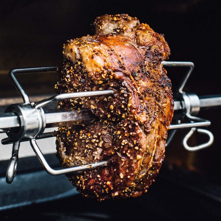 rotisserie prime rib spinning on grill