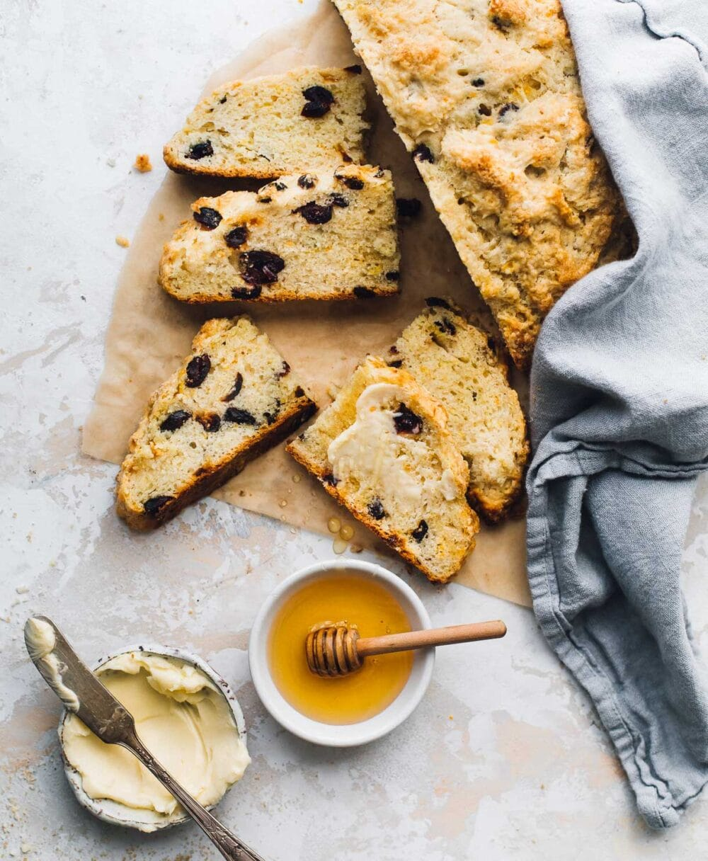 sourdough discard soda bread slices with honey and butter