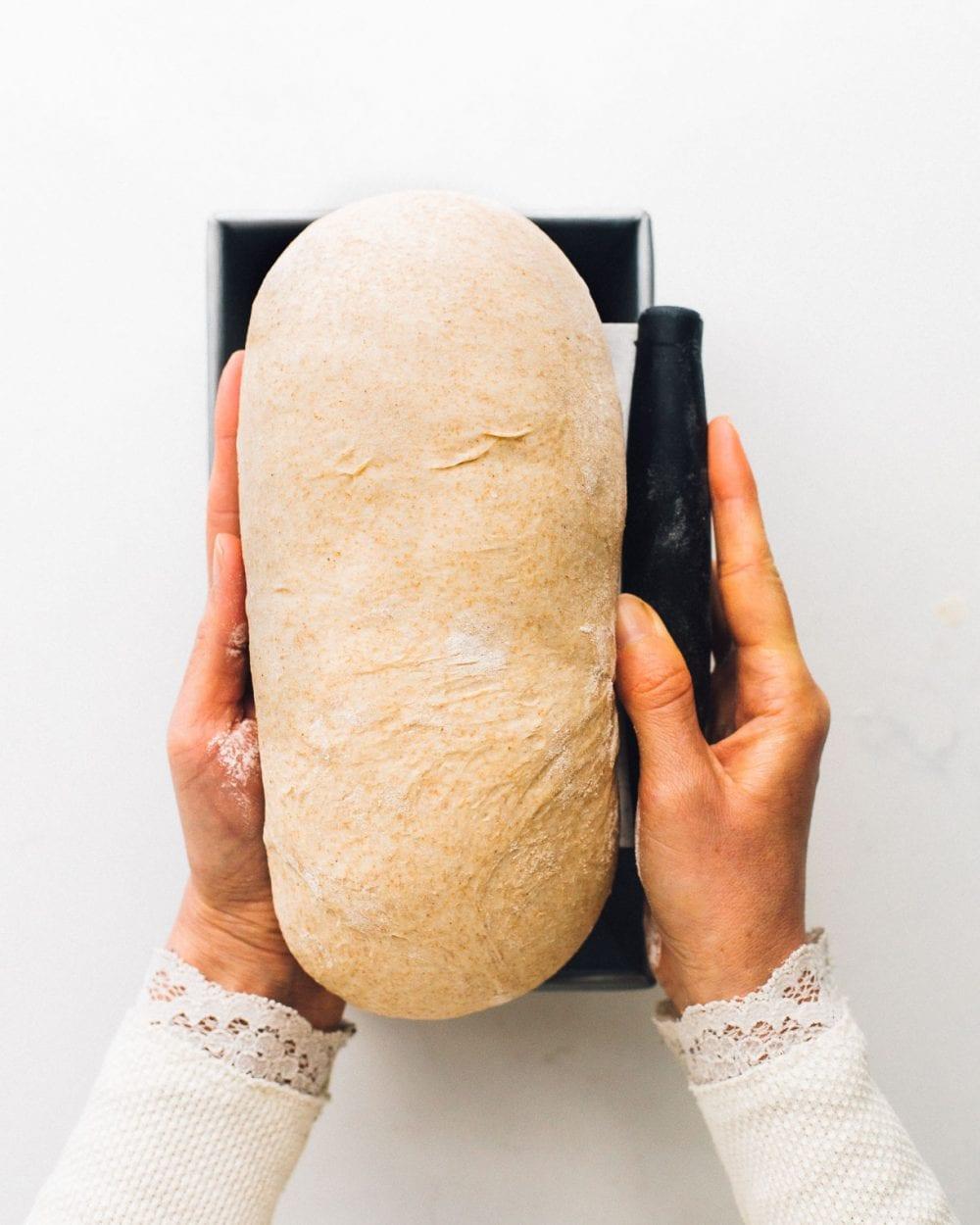 putting unbaked sourdough sandwich bread dough into pan