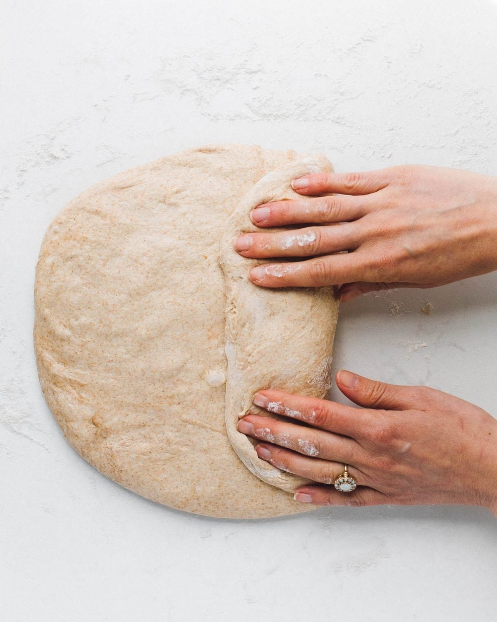 shaping sourdough sandwich bread