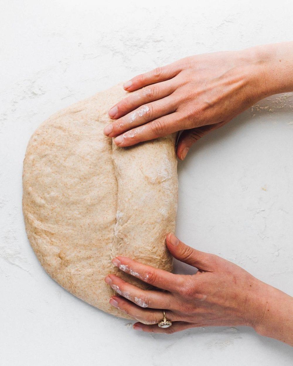 shaping sourdough sandwich bread