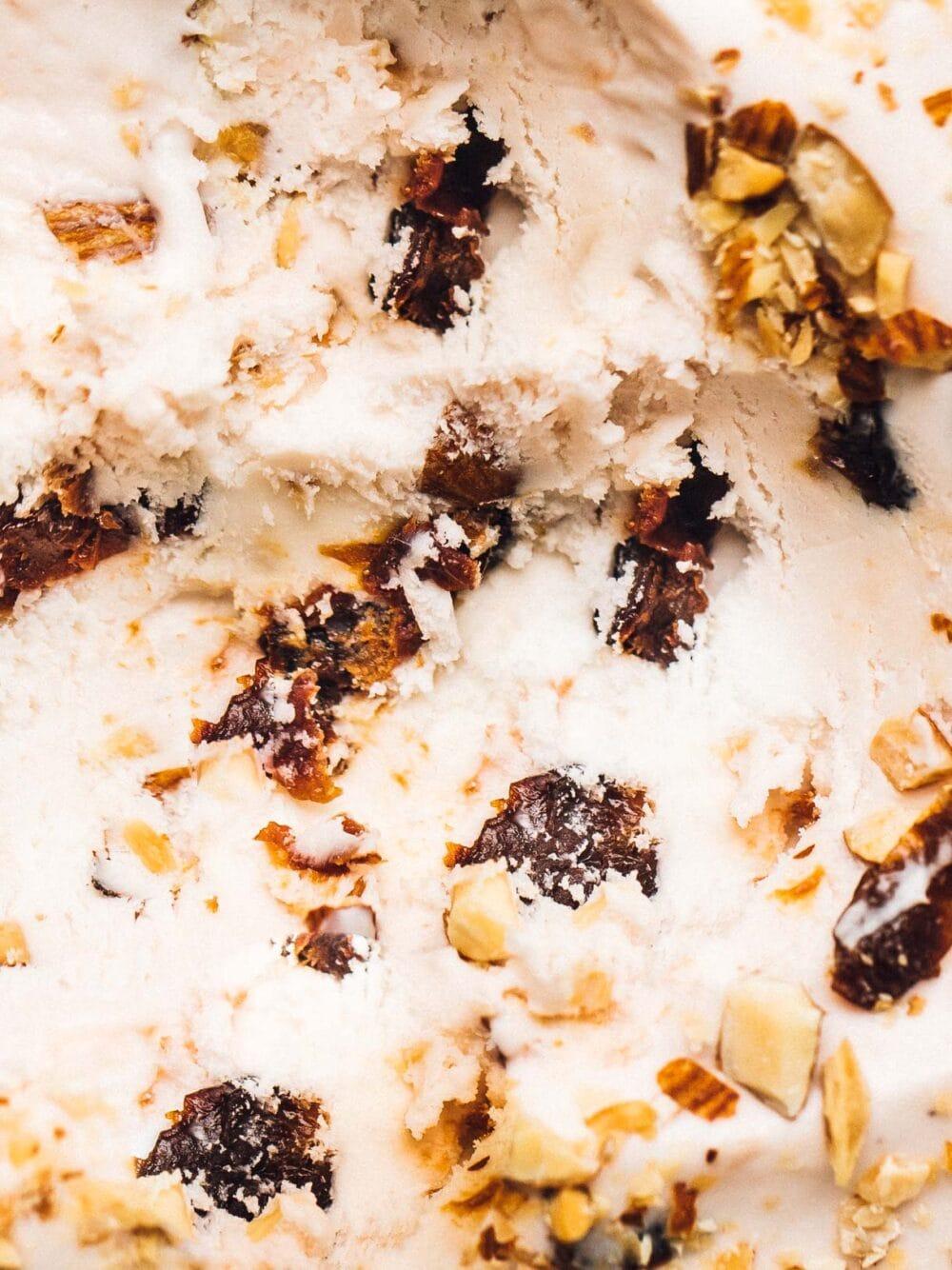 close up photo of tart cherry nut ice cream