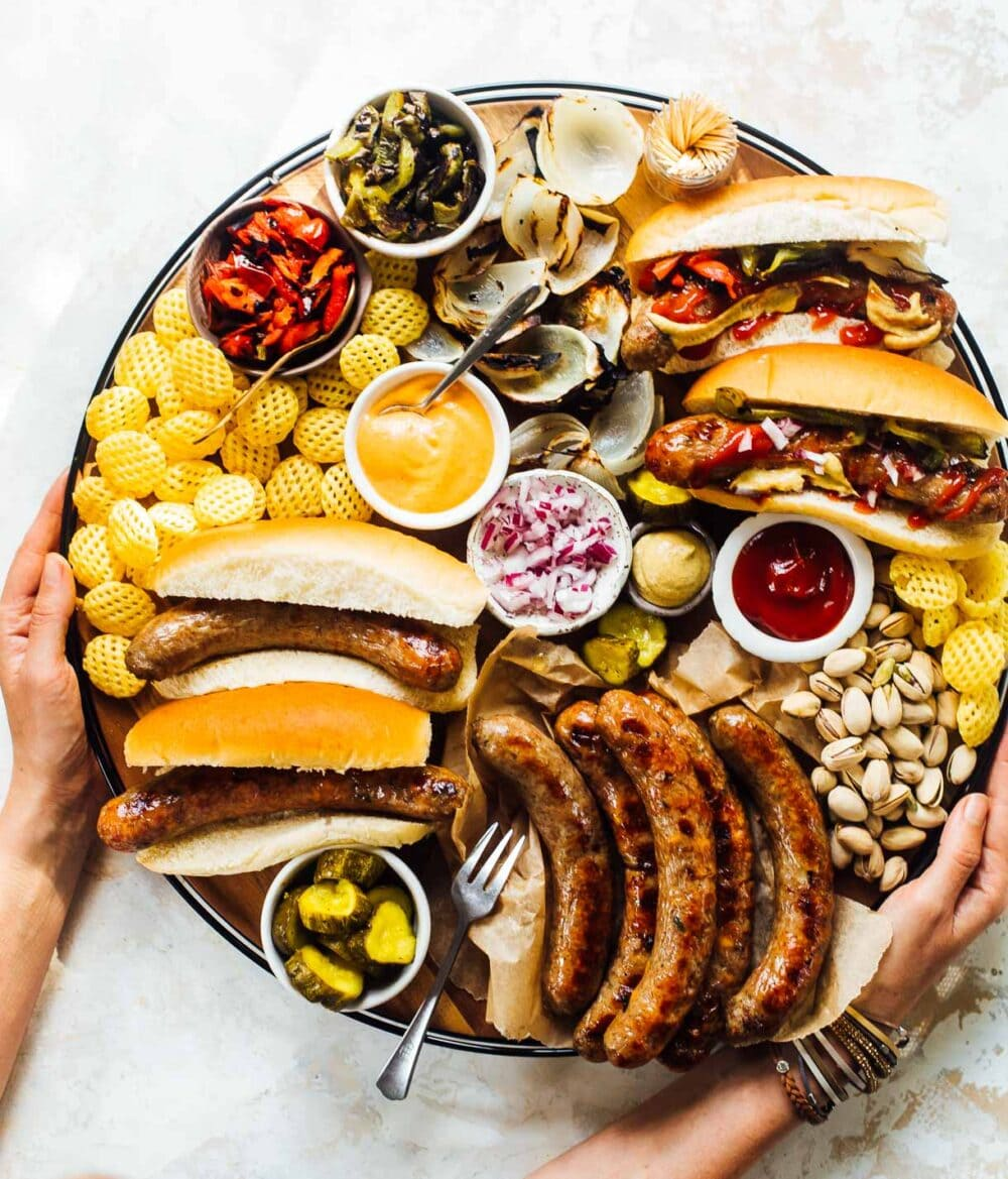 grilled brat board with all the fixings