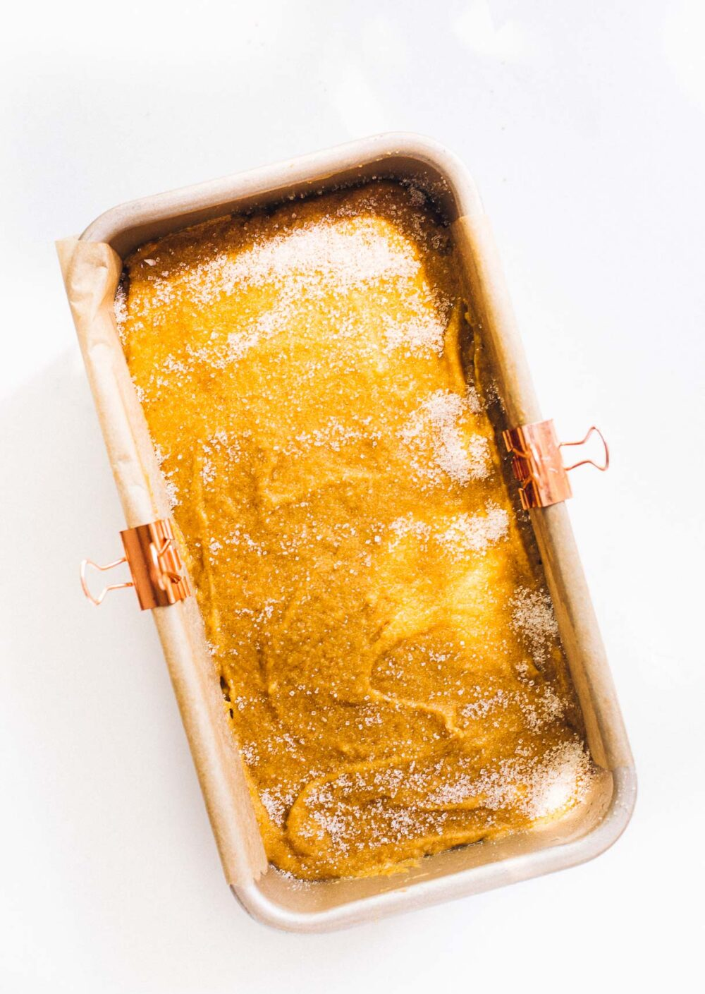 sourdough discard pumpkin bread in a loaf pan before baking
