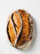 top down photo of rye sourdough bread