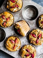 Easy Rhubarb Muffins made with almond flour